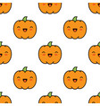 seamless halloween pattern with pumpkins on white vector image vector image