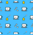seamless pattern from mug sugar and tea bag vector image