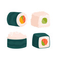 set of japanese seafood sushi rolls vector image