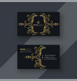 stylish golden floral decorative business card vector image vector image