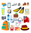 travel icons summer time holidays vector image