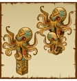 Two columns with octopus and ancient symbols vector image vector image