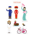 vietnamese people in traditional clothing vector image