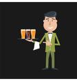 waiter beer vector image vector image