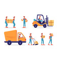 warehouse workers parcels boxes delivery shipping vector image