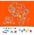 Papercut style travel map of Africa with pins vector image