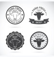set of cow labels on white background farm vector image