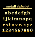 Gold metall alphabet and gold numbers vector image