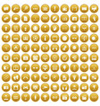 100 video icons set gold vector image vector image