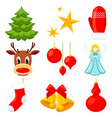 9 colorful cartoon xmas elements set vector image