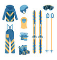 a set of comfortable and warm skiing outfit vector image