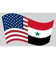 American and Syrian flags waving vector image