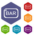 bar board icons hexahedron vector image vector image