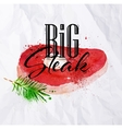 Big steak watercolor vector image vector image