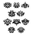Black damask floral design elements vector image vector image