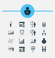 board icons set collection of decision making vector image vector image