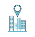 buildings cityscape scene with pin location vector image vector image