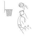 cartoon basketball player scoring goal vector image vector image