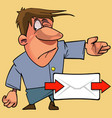 cartoon man shows the direction of the way for vector image vector image