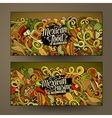 Cartoon mexican food doodles banners vector image vector image