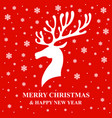 christmas card with deer and snow vector image