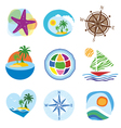 Collection of icons for the travel and tourism vector image