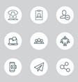 communication icons set with paper plane mobile vector image