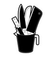container with knives black silhouette vector image