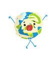 cute cartoon earth planet character standing with vector image vector image
