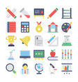 education flat colored icons 1 vector image vector image