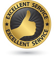 Excellent service golden sign with thumb up vector image vector image