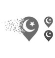 fractured pixel halftone muslim symbol marker icon vector image