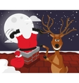 Funny reindeer with Santa on the roof vector image