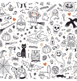 Halloween seamless pattern Pumpkin Ghosts Cats vector image