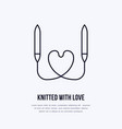 knit shop line logo yarn store flat sign vector image vector image
