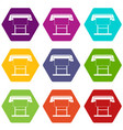 large format inkjet printer icon set color vector image vector image