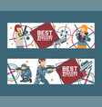 laser tag game set banners vector image