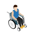 Man sitting on wheelchair icon isometric 3d style vector image