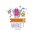 market original logo bright sale badge with vector image vector image