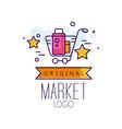 market original logo bright sale badge with vector image