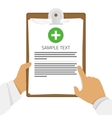 Medical clipboard in hands vector image vector image