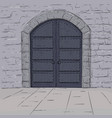 medieval castle doors hand drawn sketch vector image vector image