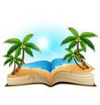 open book with tropical beach on a white backgroun vector image vector image