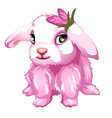 pink fluffy bunny with green eyes isolated vector image vector image