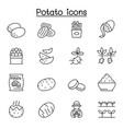 potato icon set in thin line style vector image