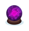 purple glass sphere with bright pink glowing vector image