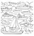 Sea transportation doodle set vector image vector image