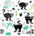 seamless pattern with cute lemur hand drawn vector image vector image