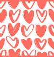 seamless pattern with red hearts drawn with rough vector image vector image