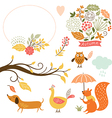 set cartoon characters and autumn elements vector image